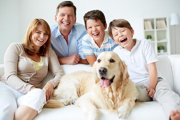 Familie mit Golden Retriever auf dem Sofa